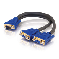 C2G Ultima HD15 Male to Dual HD15 Female SXGA Monitor Y-Cable DVI cable 0.3 m 2 x DVI-I DVI-I Black, Blue