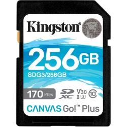 Kingston 256GB Canvas Go Plus SD (SDXC) Card U3, V30, A2, 170MB/s R, 90MB/s W