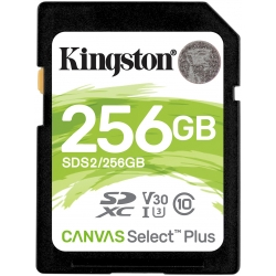 Kingston 256GB Canvas Select Plus SD (SDXC) Card U3, V30, 100MB/s R, 85MB/s W